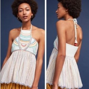 Embroidered Halter Top